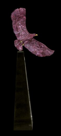 A Ruby, Granite and Gold Bald Eagle Sculpture, Luis Alberto | Natural History featuring the Collection of Gerard L. Cafesjian and other Prominent Collectors