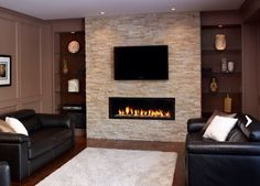 Fireplace, love the rock, no hearth