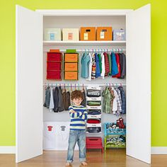 Organize your child's closet so it's easier for him to keep it clean on his own.     Less work for you!
