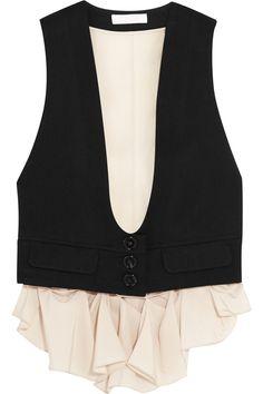 50e306c707d Chloé - Wool-twill and silk crepe de chine vest
