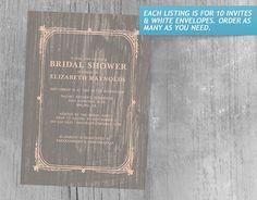 Coral Rustic Barn Wood Bridal Shower Invitations