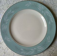 Romance by Homer Laughlin, popular during the 1950s - love the teal band! - Southern Vintage Table