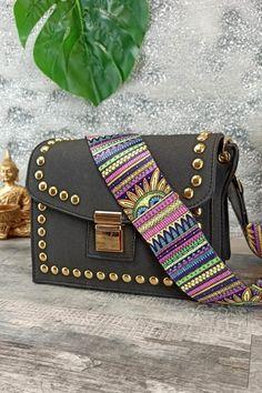 Τσαντάκι με τρουκς και υφασμάτινο λουράκι 'Black Sunset' Womens Purses, Bags, Fashion, Handbags, Moda, Dime Bags, Fasion, Totes, Fashion Illustrations