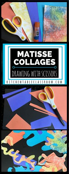 Matisse Collages Drawing with Scissors The Kitchen Table Classroom : Bright colors and exciting shapes make Matisse collages easy to relate to & great inspiration for these fun collages! Use up some old art and make new art! Matisse Art, Henri Matisse, Collage Drawing, Atelier D Art, 3rd Grade Art, Easy Art Projects, Stem Projects, Art Lessons Elementary, Art Programs