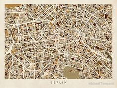 Hang this beautiful poster on your wall. Click on the picture to buy. #Berlin #Germany #Street #Map by Michael Tompsett #poster [affiliate-link]