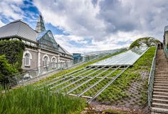 The garden on the Warsaw University Library (BUW) roof, Powisle district, Warsaw, Poland