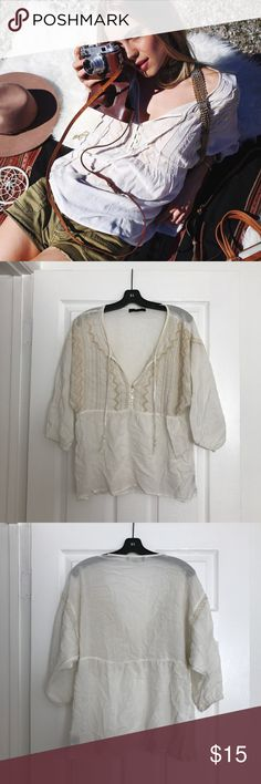 CREAM PEASANT BLOUSE WITH BEADED DETAILS Worn a few times and looking to sell 😊 Sanctuary Tops Blouses