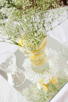 Lemons yellow white summer table centerpiece wedding