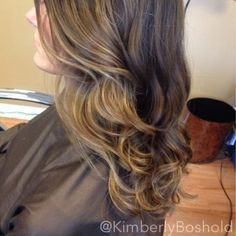 http://www.hairbykimberlyboshold.com/2014/04/march-april-hair-2014.html  Client wanted to go lighter for Spring but did not want the upkeep of typical highlights. I suggested a soft balayage. I created warm highlighted points all throughout her hair starting a few inches down from the root. The result: A soft sun kissed honey blonde that makes grow out a breeze!