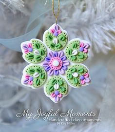Handcrafted Polymer Clay Ornament by Kay Miller on Etsy  $6.00