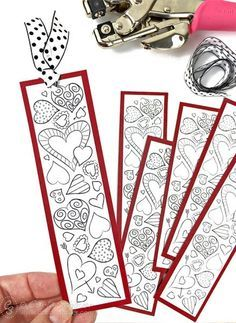 Print Valentine Bookmarks for school. Free printable bookmarks for kids to color from Carla Schauer Designs.