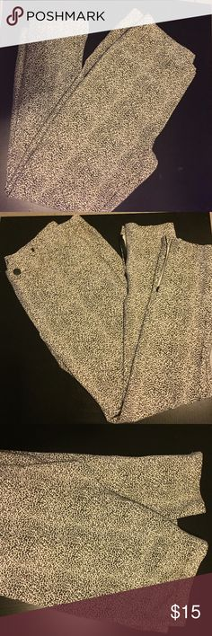Snow Leopard Jeggings. Sooo soft and stretchy!  These have zippers at the bottom of both legs. Never worn. Size tag cut out when bought because it was itchy but never worn. Pants