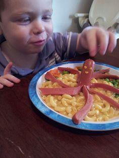 Kids Food Art - Octopus Hotdog - make sure it's Kosher like Hebrew National.