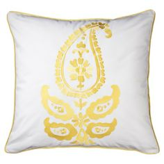 "$25 Jasmin Embroidered Paisley Pillow - Yellow (20x20"")  - similar accents with grey/yellow/white"