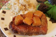 Hawaiian Pork Chops - this is a Slow Cooker recipe with just FIVE ingredients.  These tender & tasty pork chops display why the slow cooker is so perfect for summer-time cooking.  Pop all the ingredients in the cooker in 5 minutes in the morning, go out and have fun, and come home to this yummy dinner.  The recipe works equally well with boneless/skinless chicken breasts.  (Taste preference - I slightly increased the soy, slightly decreased the brown sugar.)