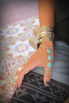 Gorgeous silver chain and Howlite Turquoise Thumb finger slave bracelet Adjustable Hand piece Native style Silver Feather Bohemian Festival by handmadebyinali on Etsy