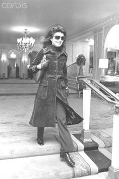 Jackie Onassis in Suede Jacqueline Kennedy Onassis in a lobby, wearing a full length suede coat and pants. March. 02,1971.❤♥❤     http://en.wikipedia.org/wiki/Jacqueline_Kennedy_Onassis