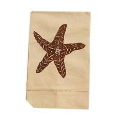 Starfish Guest Towel in Brown on Natural