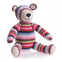 Multi Coloured Teddy Bear Organic Cotton Crochet Soft Toy