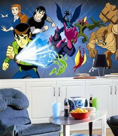 """(72x126) Ben 10 Chair Rail Prepasted Mural by RoomMates. $154.00. Approx Size(s) (all w x l); 10.5' w x 6' h. SureStrip Prepasted Mural. Sheets/ Border specs; 7 - 18"""" panels. # of Wall Decals/Size; n/a. (72x126) Ben 10 Chair Rail Prepasted Mural"""