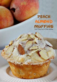 Peach Almond Muffins   Can't Stay Out of the Kitchen   these moist and delicious #muffins are filled with #peaches and have double the #almond flavor. Great for #breakfast or as a snack.