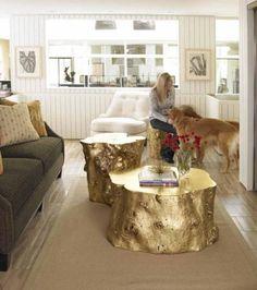 umweltfreundliche möbel holz baumstamm gold couchtisch