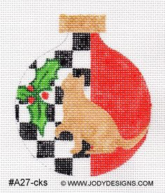 Checkers+Cat+Needlepoint+Ornament+++Jody+Designs+by+JODYdirect,+$40.00