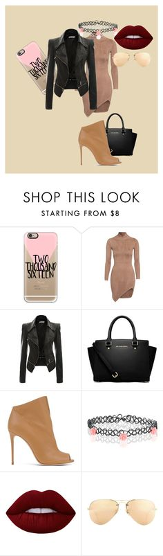 """""""Why not??"""" by blackparade15 ❤ liked on Polyvore featuring Casetify, MICHAEL Michael Kors, Casadei, Monsoon, Lime Crime and Ray-Ban"""