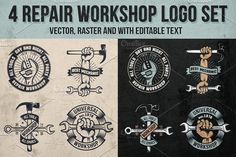 4 Repair workshop logo set by DreamBikeShop on @creativemarket