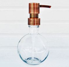 Round Glass Soap Dispenser. Sphere, Ball Shaped, Globe Soap Dispenser. Made of 40% recycled glass. Choose from Chrome, Stainless/ Nickel, Copper or Bronze Soap Pump.
