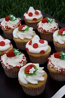 I LOVE these cupcakes and we could make them with either strawberries or cherries or both!  Image via For the Love of Sugar Addicts Blog, from August 7, 2010.