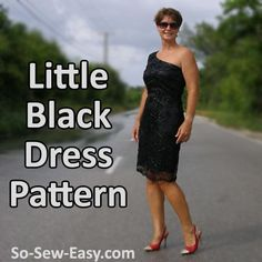 Free little black dress pattern. A fashionable asymmetrical party dress with one shoulder and a lace or embroidered net overlay. Free dress sewing pattern.