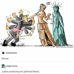I'm guessing that's Donald Trump being thwarted by Justice (hey, karma dude) and Freedom being protected from Trump. Yep seems perfectly accurate to me. This should happen soon in my opinion. Lgbt Memes, Funny Memes, Lgbt Quotes, Arte Coral, Stupid Funny, Hilarious, Lgbt Love, My Demons, Cute Gay
