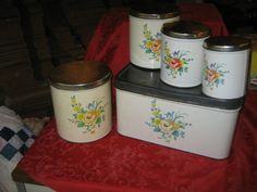 Vintage Decoware Metal Canisters & Matching Bread by BoutiqueBN, $30.00