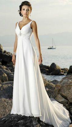 Simple Elegant Beach Wedding Dress for Summer