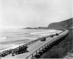 This is the Rincon Causeway in Ventura, part of the lower coastal Pacific Road. What is now Highway 101 is visible part way up the mountain above it. It was completed in 1912 and replaced in It was made of wood and was feet long. Ventura County California, California Love, Los Angeles California, Southern California, California History, Vintage California, Newbury Park, San Fernando Valley, Before Us