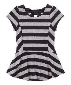 Take a look at this Black Sparkle-Stripe Peplum Top - Girls by RUUM on #zulily today!