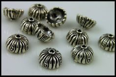 Bali STERLING SILVER Bead Caps 2  S147 by BirdDesigns on Etsy, $4.45