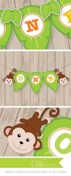 Jungle Monkey High Chair Banner Age: ONE (as shown) - - - - - - - - - - - - - - - - - - - - - - - - - - - - - - - - - - - - - - - - - - - - - - - - - - - - - - - - - - - When placing your order, please include the event date into the note to seller section during check out. **If you would like an age change, please message us and we would be happy to set up a custom listing for you, letter/number add ons are $2.50 each **Each letter in the banner is about 4x5.5 - - - - - - - - - - -...