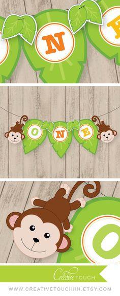 Banner de cumpleaños selva selva silla alta por CreativeTouchhh