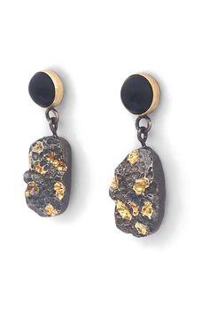 Mixed Metal Earrings, Sterling Silver Statement Earrings, Funky Earrings, Boss Christmas Gift, - List of the best jewelry Rustic Jewelry, Modern Jewelry, Silver Jewelry, Fine Jewelry, Gemstone Jewelry, Urban Jewelry, Funky Earrings, Unique Earrings, Silver Earrings