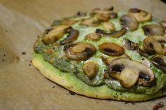 #Gluten_Free Walnut-Spinach Pesto and Mushroom #Pizza!