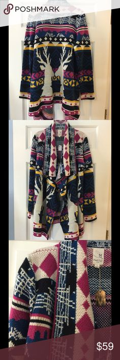 """⌛️GONE 12/15⌛️ Pink Owl reindeer blanket cardigan Adorable blanket cardigan with reindeer on the front and back. 100% acrylic. Hand wash. Underarm across 19"""". Length 29-35"""". Brand new with tag. Pink Owl Sweaters Cardigans"""