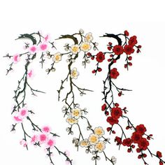 Lovely Embroidered Plum Blossom Flower Patch Iron SEW ON Applique Motif Craft | eBay