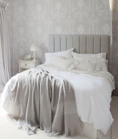 Casual chic, grey and white bedroom Laura Ashley.I would like to find curtains with the wallpaper print and have a light blue/grey simple wall color. Design Furniture, Bedroom Furniture, Bedroom Decor, Bedroom Ideas, Bedroom Themes, Bedroom Inspo, Gray Bedroom, Master Bedroom, Serene Bedroom