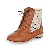 Faux Leather Low Heel Motorcycle Boots Oxford... – USD $ 39.99