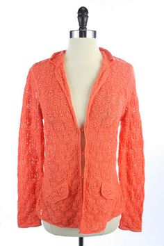 Recycle Your Fashions TALBOTS Orange COTTON Crochet CARDIGAN Sweater TOP Shirt PETITE S PS