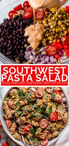 vegan southwest pasta salad recipe (make-ahead) - plays well with butter - - everyone loves this vegan southwest pasta salad recipe! it's perfect to make-ahead for parties & quick dinners. learn how to make my EASY vegan pasta salad! Pasta Carbonara Receta, Pasta Alfredo Receta, Vegetarian Recipes Easy, Dairy Free Recipes, Cooking Recipes, Healthy Recipes, Beef Recipes, Pasta Salad Recipes, Vegan Pasta Salads