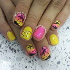 tropical, pink, yellow, beach, palm tree, blend, ombre