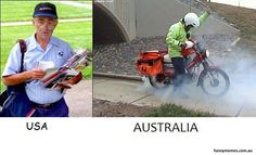 Australia Posties - the mail is delivered so differently.and NEVER on weekends in Australia! Australian Memes, Aussie Memes, Stupid Memes, Funny Memes, Jokes, Hilarious, Meanwhile In Australia, Australia Funny, Quality Memes